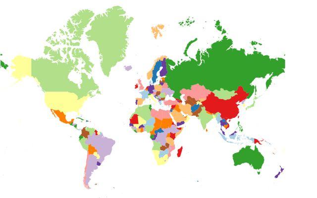 WebGL vs  2D Canvas: Countries / Ondřej Žára / Observable