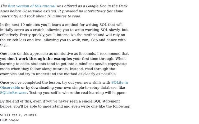 Learn SQL in 10 Minutes! / Nolan Johnson / Observable