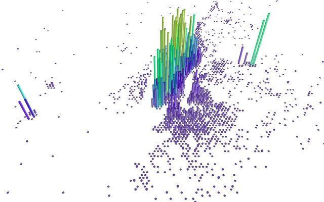 Datavisualization using D3 js and deck gl's HexagonLayer