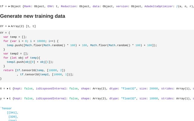 Tensorflow JS Test Import Pretrained Linear Addition Model